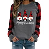 AIHOU Christmas Shirts for Women Gnome Reindeer Graphic Plaid Splicing Tops Long Sleeve Sweater Plus Size Trendy Sweatshirts