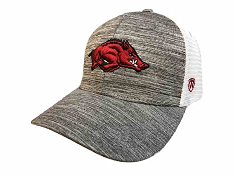6567d57e79d Image Unavailable. Image not available for. Color  Top of the World  Arkansas Razorbacks TOW Gray w White Mesh Warmup Structured Snapback Hat Cap
