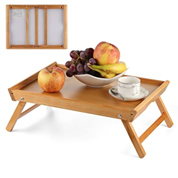 BEEBO BEABO Wooden Serving Tray Table With Folding Legs, Foldable Breakfast  Bed Tray U0026 Dinner