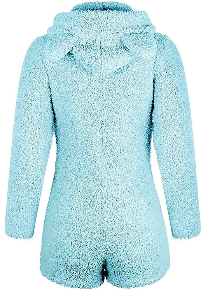 SCOFEEL Women's Sherpa Romper Pajamas Fleece Hooded Sleepwear Jumpsuit Lounge Wear