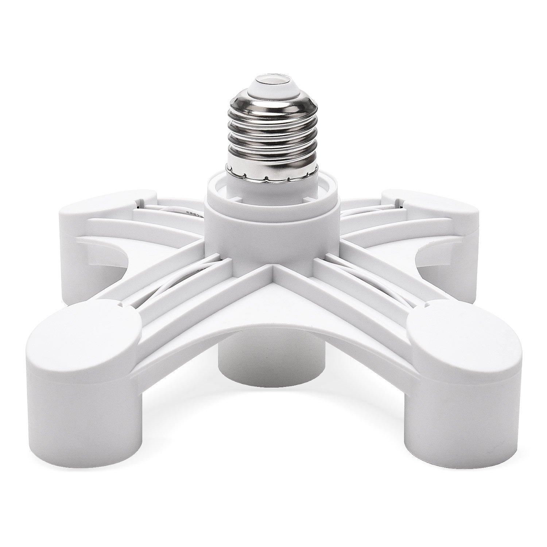 JACKYLED 5 in 1 Light Socket Splitter E26 E27 Adapter Converter