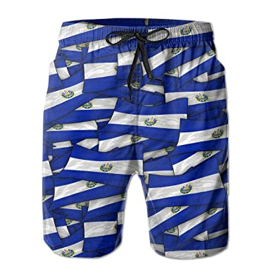 Mens Swim Trunks El Salvador Flag Wave Collage Quick Dry Beach Board Shorts with Mesh Lining