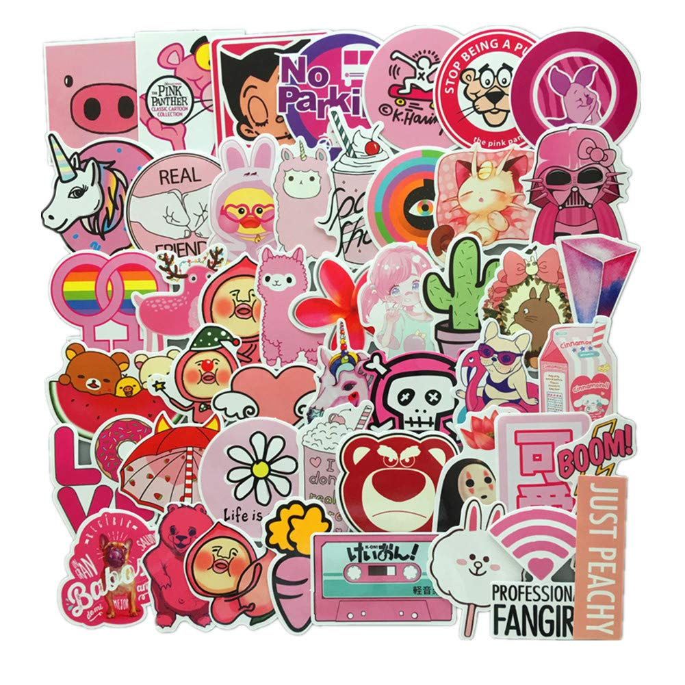 Amazon com 50 pcs pvc decals pink teenage dream romance of teenage girls vinyl computer luggage stickers for cars motorbikes skateboard laptops computers
