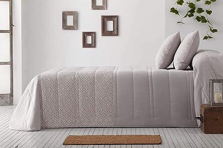 Burrito Blanco Colcha Bouti Cama 150 Gris Tejido Exterior Jacquard 100% Algodón Diseño Geométrico y Liso con 2 Fundas de Cojín/Colcha-Edredón Acolchado 414 150x190 cm hasta 150x200 cm: Amazon.es: Hogar