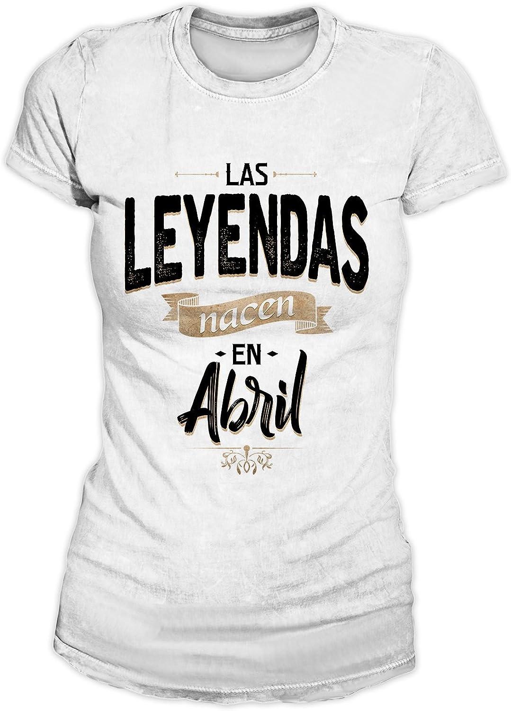 RiotBunny Las Leyendas Nacen en Abril Camiseta de Cumpleaños Mujeres: Amazon.es: Ropa y accesorios