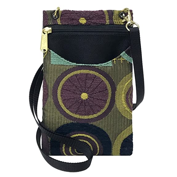 Danny K Women's Tapestry Crossbody Cell Phone or Passport Purse, Handmade in USA (Ascot/Purple)
