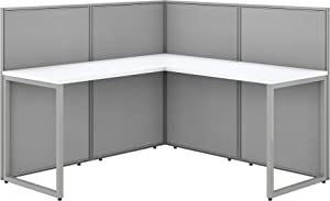 Bush Business Furniture Easy Office L Shaped Cubicle Desk Workstation, 60W x 45H, Pure White