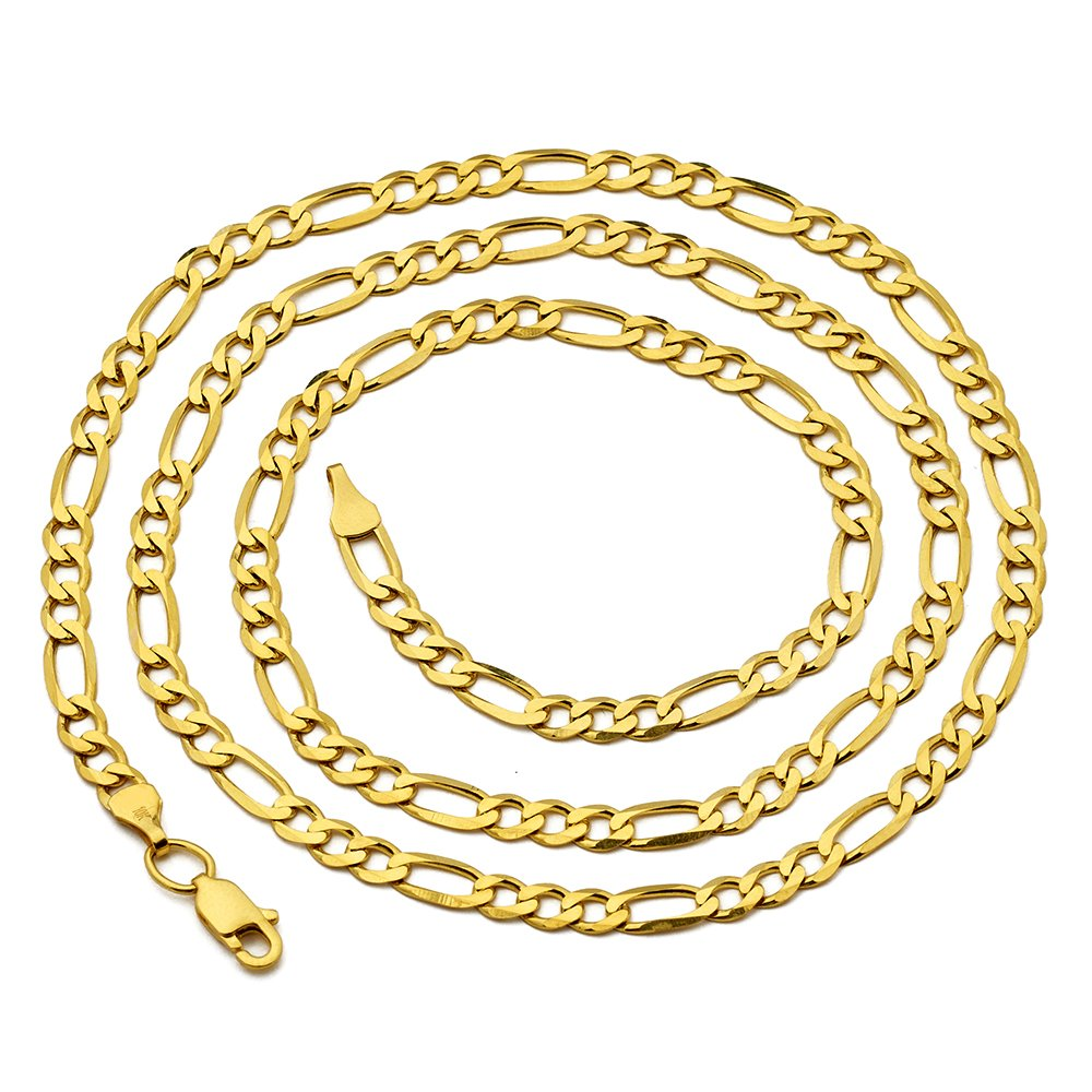 LoveBling 10K Yellow Gold Solid Figaro Chain Necklace, Available in 2mm to 6.5mm, 16'' to 30'' (4.5mm, 22'') by LOVEBLING