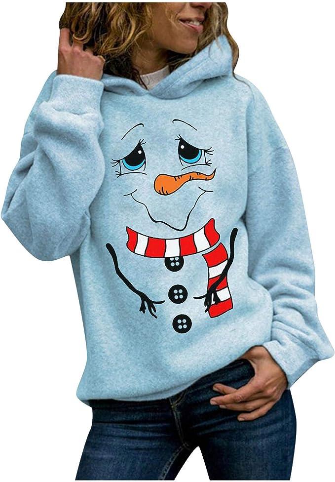 SALIFUN Hoodies for Women Pullover Long Sleeve Animal Cat Printing Sweatshirts Tops Comfy Hooded Pullover Tops Blouses
