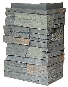 NextStone Polyurethane Faux Stone Interlocking Outside Corner – Country Ledgestone – Appalachian Gray (4 Corners per Box)