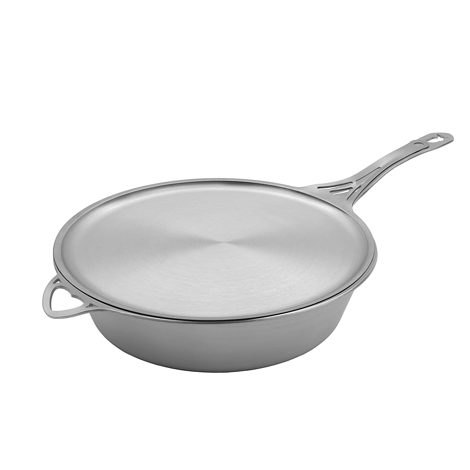 SOLIDTEKNICS nöni 11-inch Sauté Pan and Skillet Lid/Crêpe Pan – Two-Piece Seamless Cookware Set, 1/8-inch Ferritic Stainless Steel, Satin Finish, Made in the USA