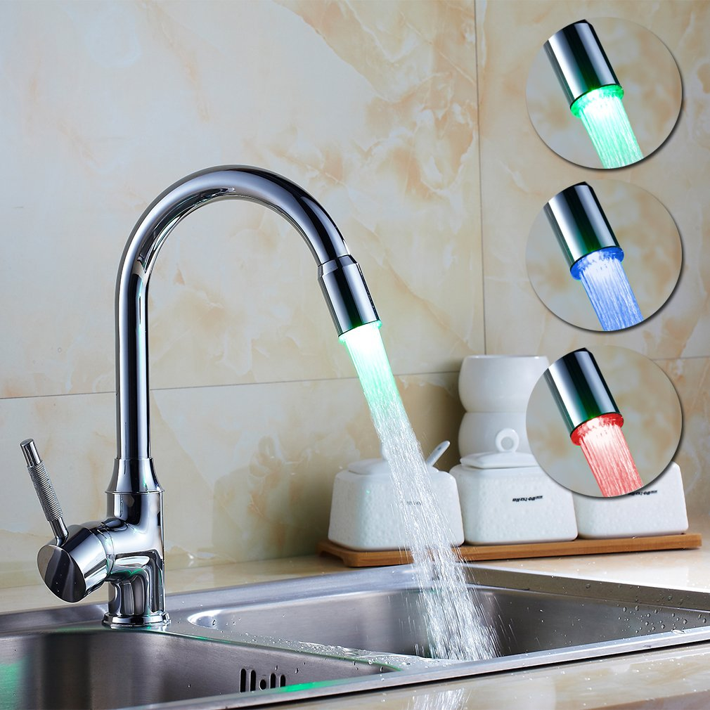Auralum® RGB LED Wasserhahn Küchenarmatur Spültischarmatur Einhebelmischer  Armatur Küche: Amazon.de: Baumarkt