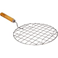 Royals Round Barbeque Jali Roti Roast Grill Papad Roaster Chapati Toast Grill Wooden Handle paneer tandoor net (17 cm)