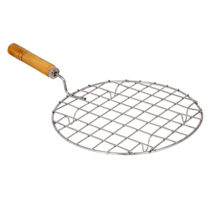 Royals Round Barbeque Jali Roti Roast Grill Papad Roaster Chapati Toast Grill Wooden Handle paneer tandoor net (20 cm)