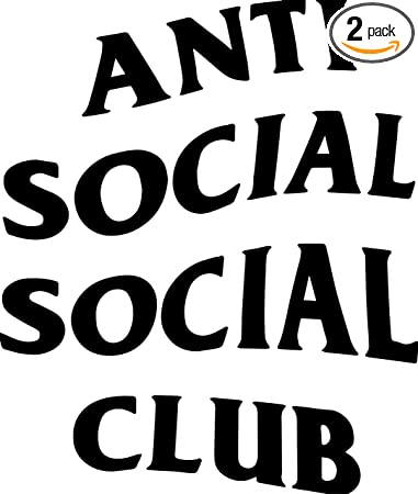 ANGDEST Anti Social Club BLACK Set Of 2 Premium Waterproof Vinyl