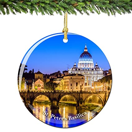 Vatican St Peters Christmas Ornament 2.75 Inch Double Sided Porcelain Rome  Italy Vatican Ornaments - Amazon.com: Vatican St Peters Christmas Ornament 2.75 Inch Double