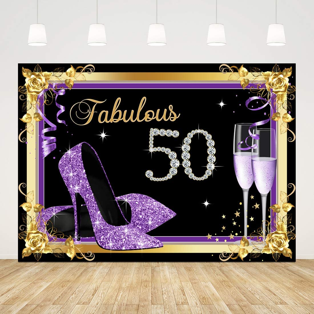 Happy 50th Birthday Backdrop for Women Fabulous and Fifty Photography Background 7x5ft Gold and Purple High Heel Glass 50 Birthday Party Decorations Cake Table Banner 50th Studio Photo Booth Props