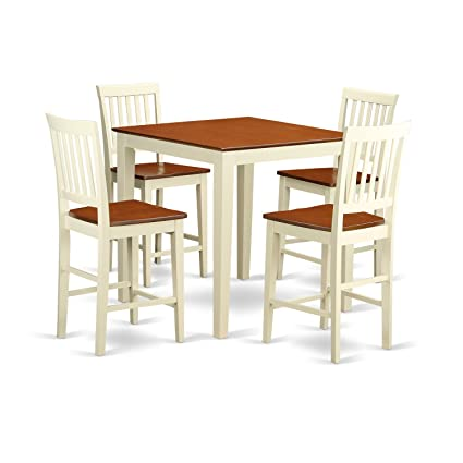 East West Furniture VERN5-WHI-W 5-Piece Counter Height Table Set  sc 1 st  Amazon.com & Amazon.com - East West Furniture VERN5-WHI-W 5-Piece Counter Height ...