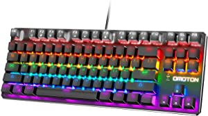 OMOTON TKL Mechanical Gaming Keyboard, Blue Switch Rainbow Backlit Wired Keyboard, 87-Key Anti-Ghosting Tenkeyless Keyboard for PC, Gamer Computer, Desktop, Black