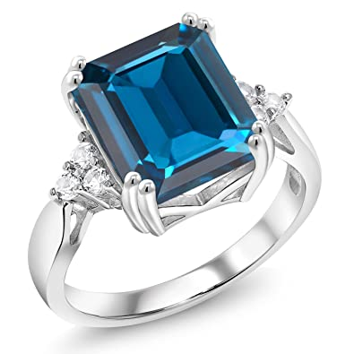 0bb8143cd Amazon.com: Gem Stone King London Blue Topaz 925 Sterling Silver Women's  Ring (7.66 Ct Emerald Cut Gemstone Birthstone Available in size 5, 6, 7, 8,  ...