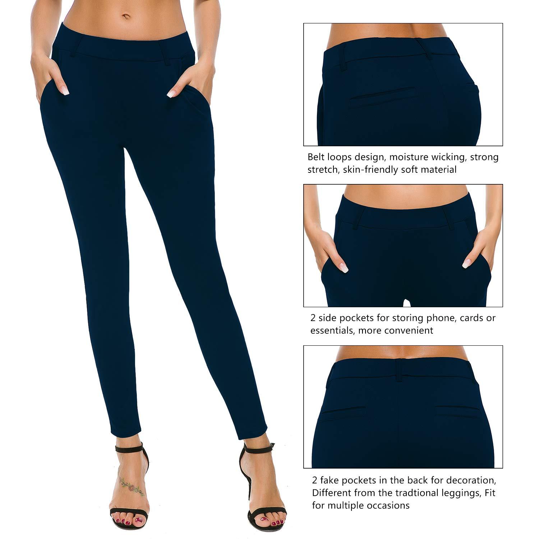 70bda903ec1977 Bamans Women's Yoga Dress Pants Tummy Control Pull On 4 Way Stretch Skinny  Slim Leggings, Royal Blue L at Amazon Women's Clothing store: