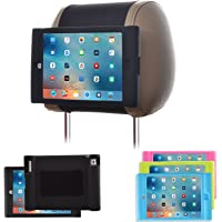 TFY Soporte para Reposacabezas de Coche para iPad 4 / iPad 3 / iPad 2 Infantil – Desprendible Ligero a Prueba de Golpes Anti-Deslizamiento Carcasa con Asa de Silicona Suave – Negro