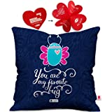 indibni Bug Printed Cushion Cover 12x12 with Filler - Blue Cute Valentine Gift for Boyfriend Girlfriend Her on Anniversary Bday