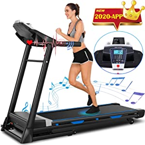 ANCHEER Treadmill, 3.25Hp APP Control Folding Treadmills Machine for Home with Automatic Incline, Running&Walking&Jogging Portable Treadmill for Gym Home & Office Workout.