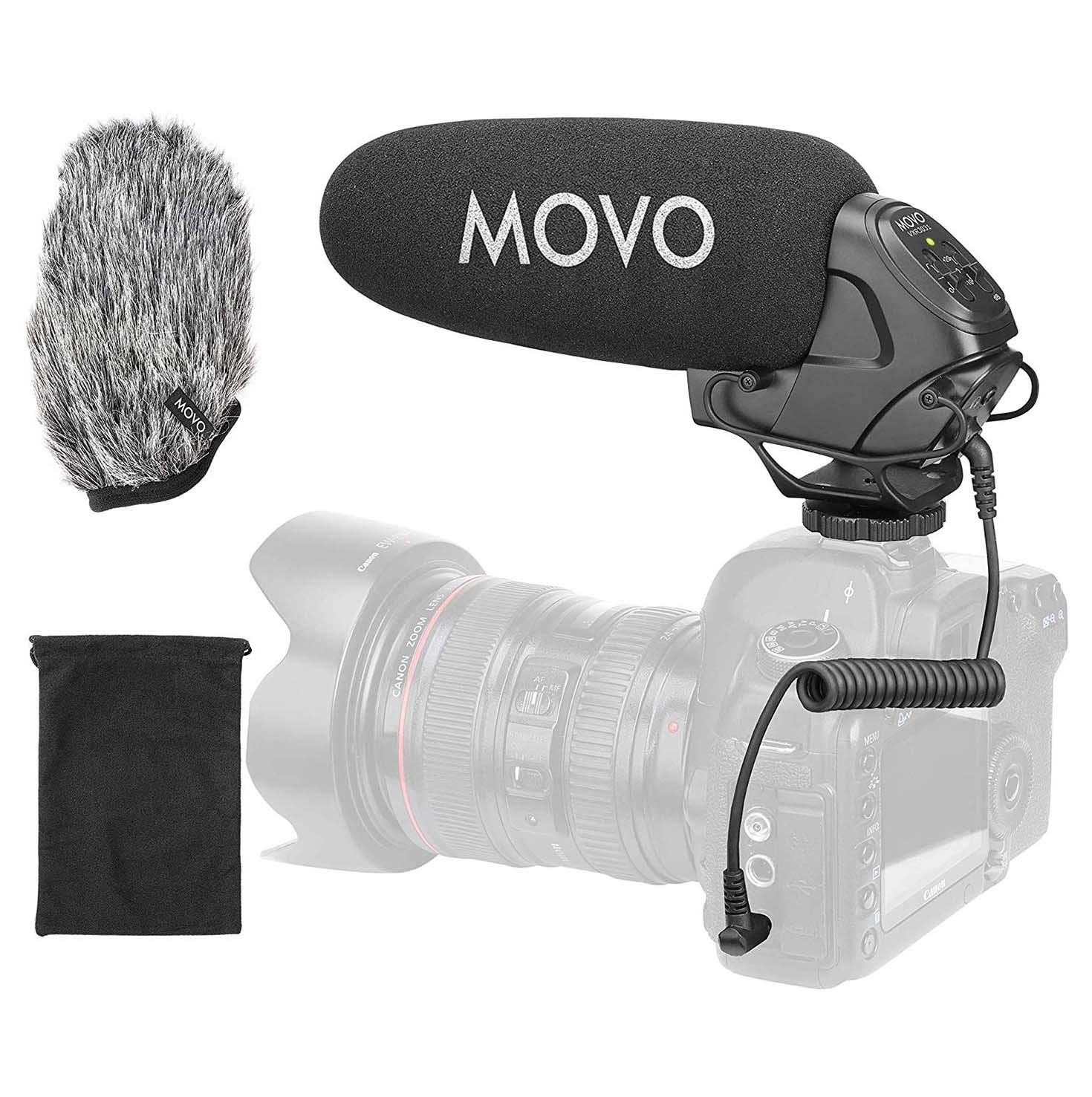 Movo VXR3031 Shotgun Microphone - Supercardioid On-Camera Shotgun Mic with 2-Step High-Pass Filter, 3-Stage Audio Level Control, Headphone Monitoring Input + More
