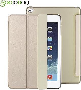 Funda para iPad Air 2 - GOOJODOQ Funda Elegante de Cuero con Cubierta Delgada de PU con Estuche Rígido Translúcido Función Auto Despertador y Estuche para iPad Air 2 Dorado: Amazon.es: Electrónica