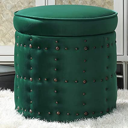 Swell Amazon Com Modern Storage Ottoman Round Padded Lift Top Evergreenethics Interior Chair Design Evergreenethicsorg