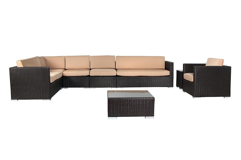 Rattan Gartenmöbel Lounge CALA d´OR DELUXE | 10cm Polster (Schwarz ...