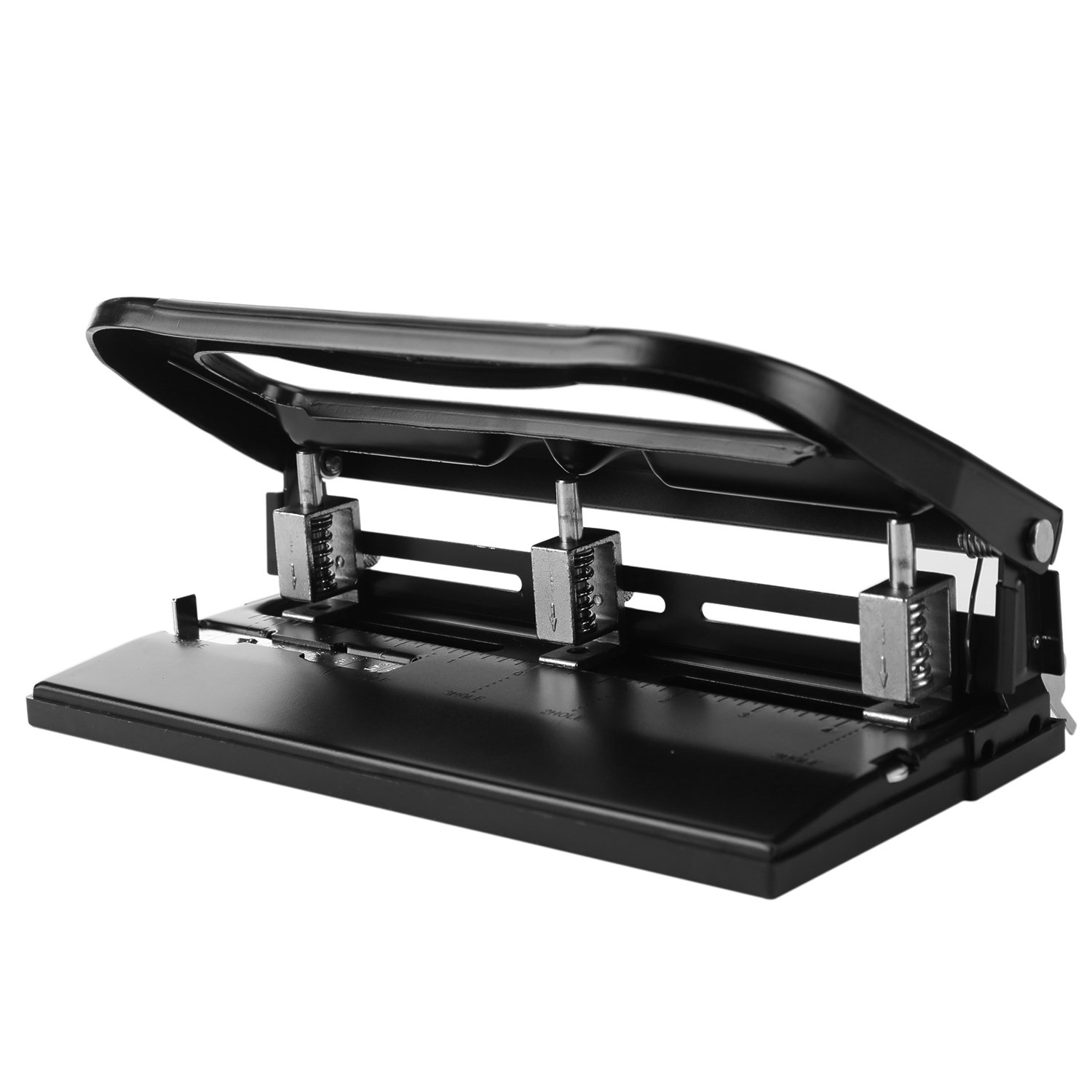 Heavy-Duty Adjustabl 11/40 2-3 Hole Punch, Low Force, 40 Sheets Punch Capacity Black Integrated Paper Guide for Hole Punching Consistency