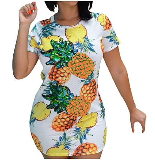 a8d4c00be55 Coolred-Women Silm Fit Pineapple Printed Sexy Short-Sleeve Mid Dresses  White S