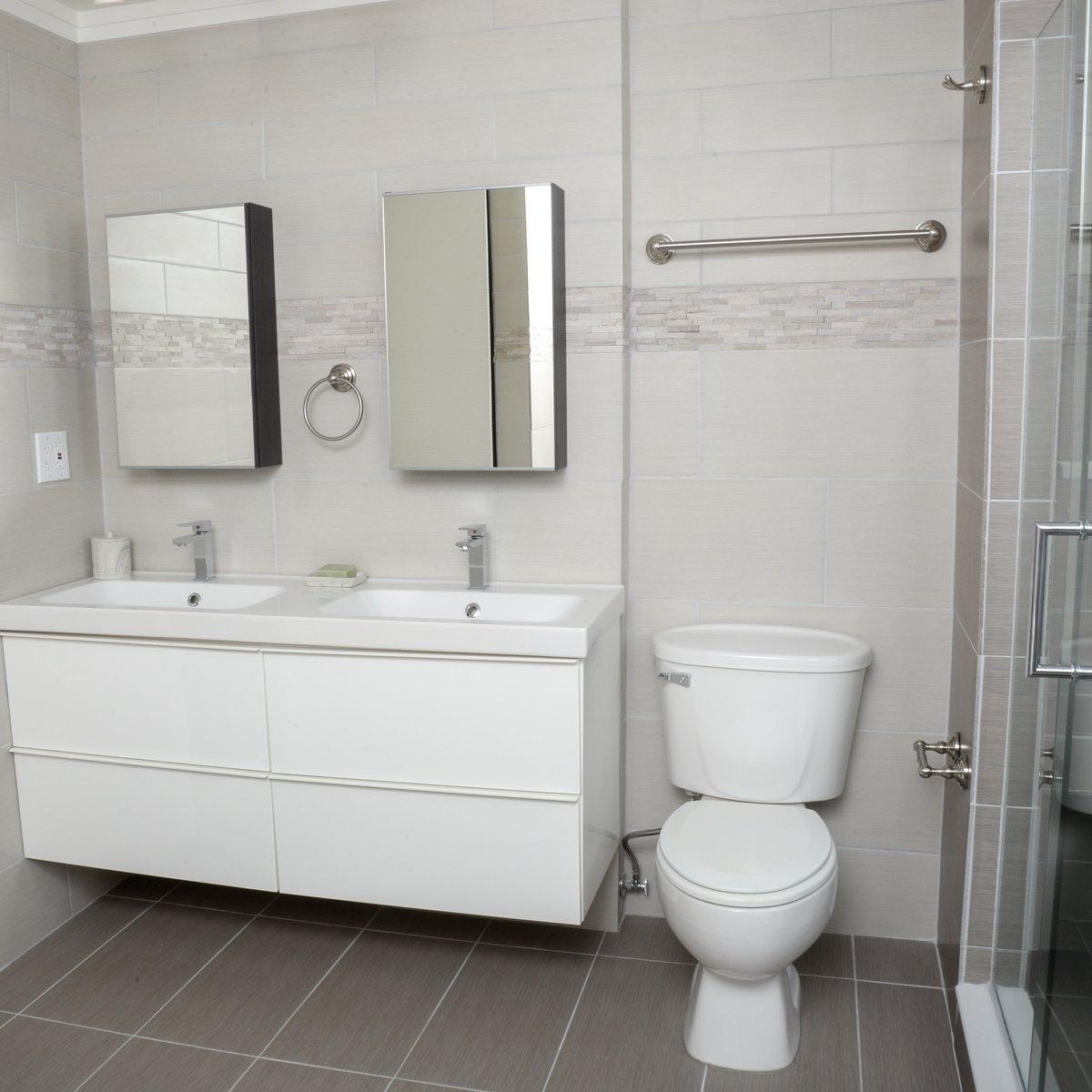 Set di accessori da bagno Basics finitura  nichel satinato 4 pezzi stile tradizionale