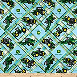 Springs Creative Products John Deere Everyday Cotton Plaid Patch Light Blue Fabric by The Yard