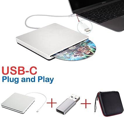 Lector USB-C, lector externo para CD DVD, grabador USB DVD CD, regrabador / grabador / reproductor CD, DVD+/-RW, datos de alta velocidad para Mac, ...