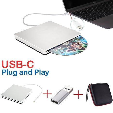 Lector USB-C, lector externo para CD DVD, grabador USB DVD CD ...
