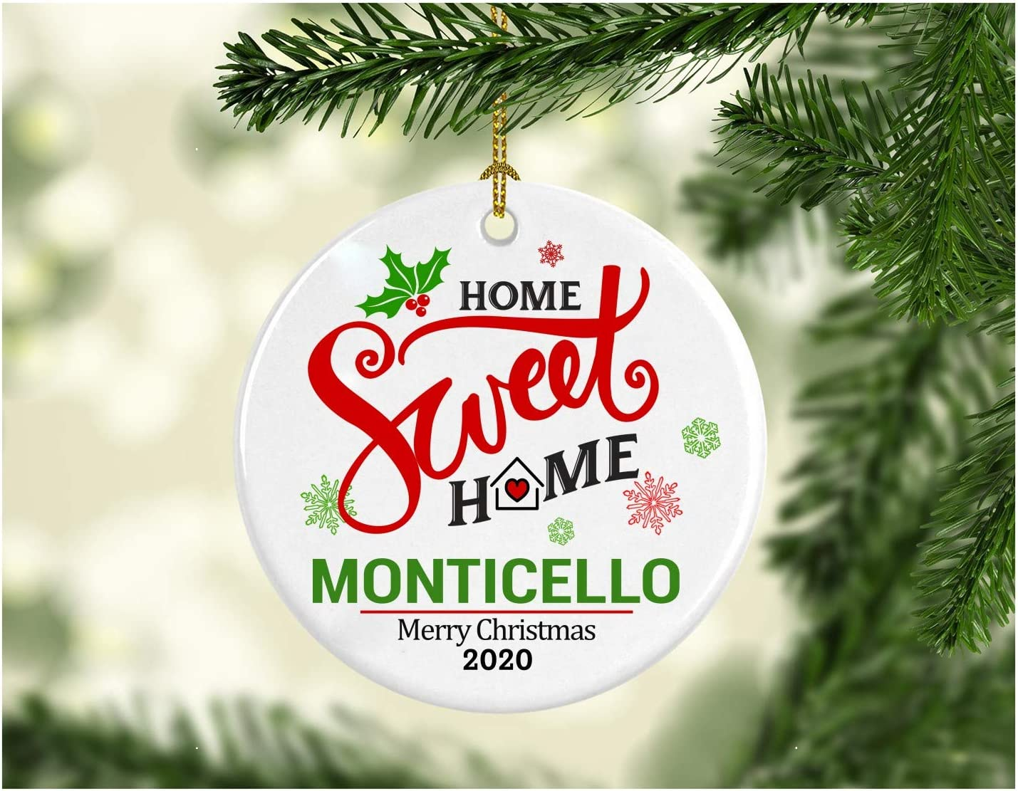 Christmas Decoration Tree Ornament State - Home Sweet Home Monticello Merry Christmas 2020 - Xmas Gift for Family Best Friend Mom Dad - MDF Plastic Ornament 3 Inches White