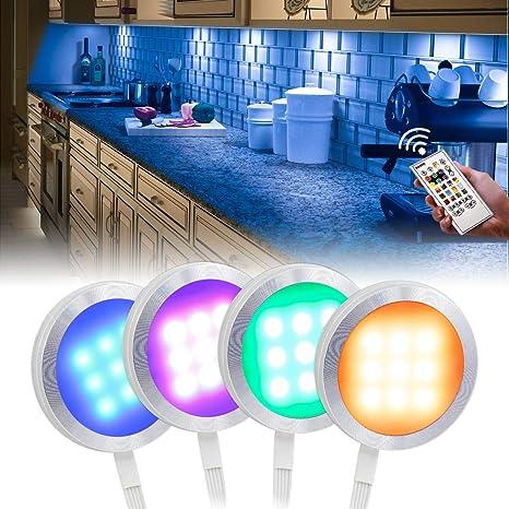 RGB Under Cabinet Lighting,10 Packs RGBW//WW AIBOO Under Counter LED Light Kit