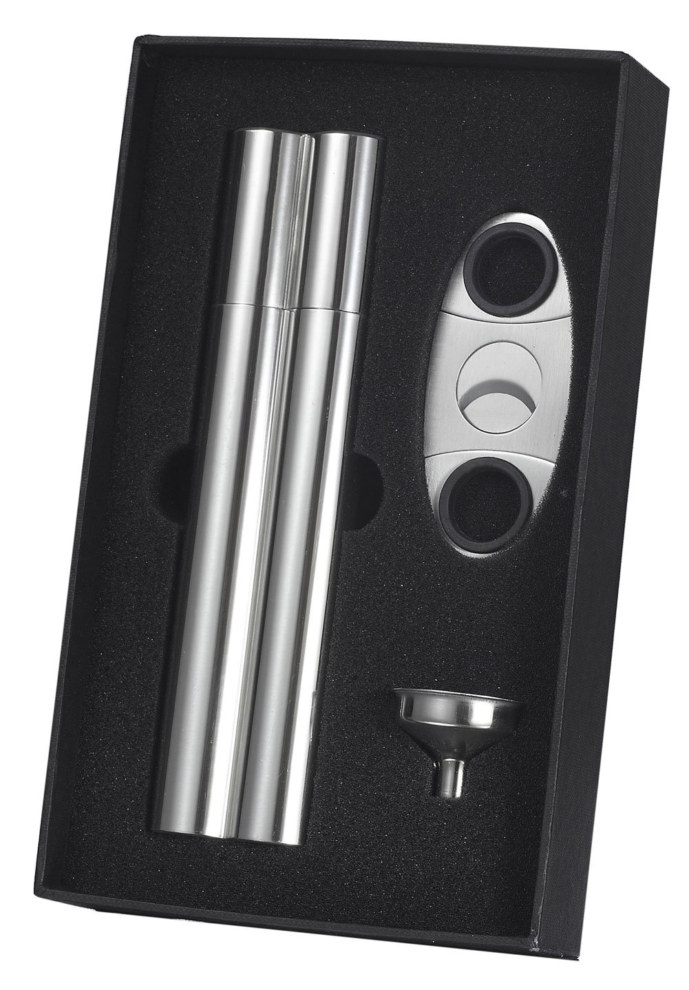 Visol''Paramount'' Cigar Case Flask Combo Gift Set with Cigar Cutter and Funnel