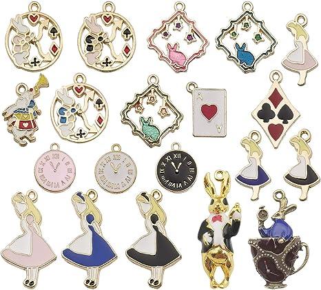 4 x ALICE IN WONDERLAND Enamel /& Goid Plated Charms GIRL Pendants Beads