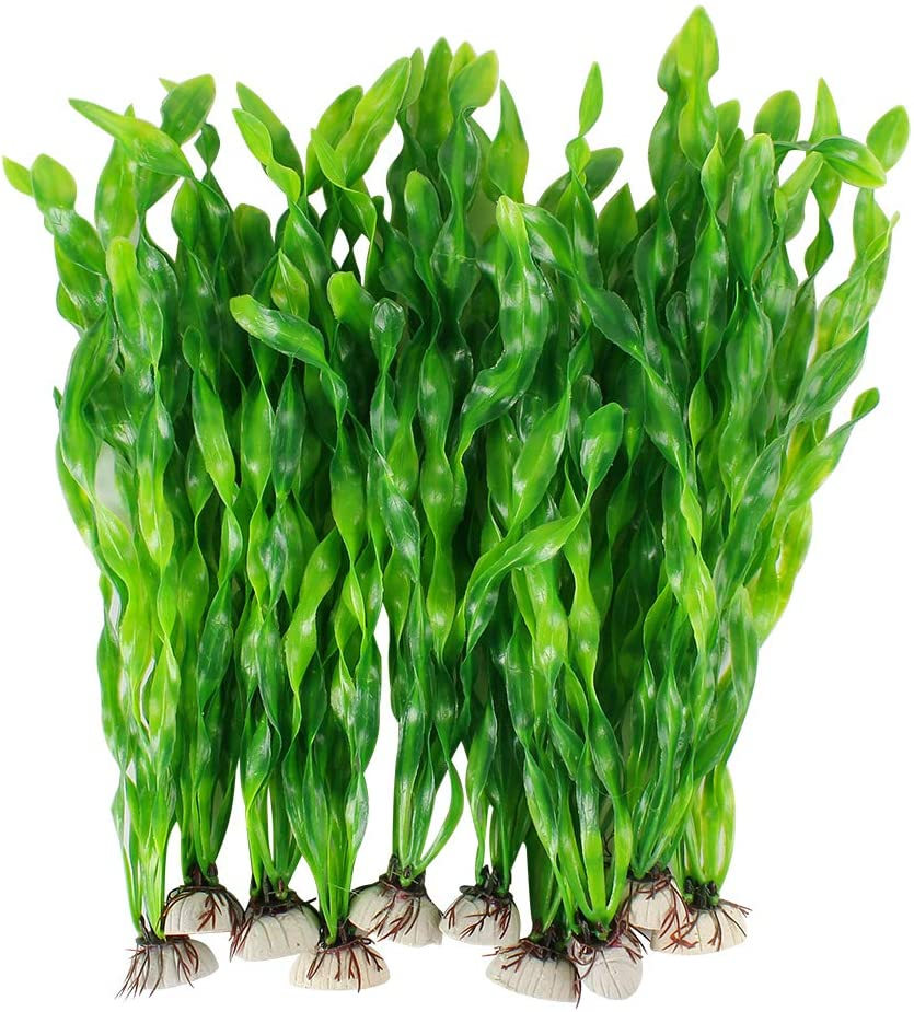 MyLifeUNIT Artificial Seaweed Water Plants for Aquarium, Plastic Fish Tank Plant Decorations 10 PCS