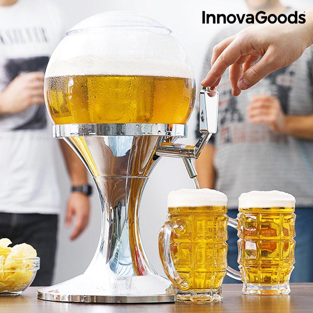 Il nuovo Cooling Beer Dispenser! L'originale spillatore da tavolo di birra fresca alla spina da 3,5 litri - senza BPA - distributore erogatore refrigerato da casa a forma di pallone con vaschetta scompartimento per il ghiaccio per bibite, vino e bevande fr