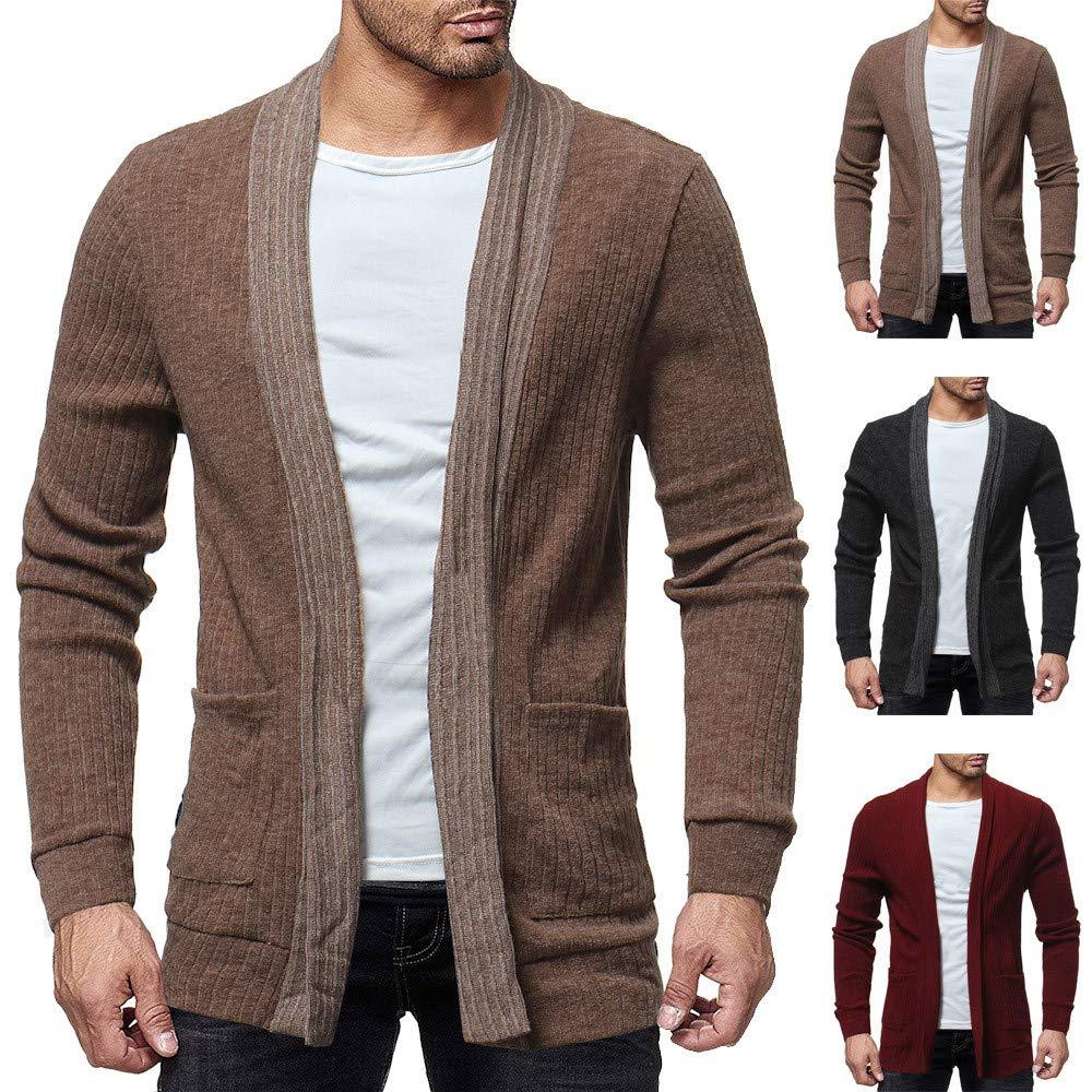 Suéter sólido de la Rebeca de la Moda de los Hombres Sudaderas Abrigo de la Chaqueta de Corte Slim Casual por Internet: Amazon.es: Ropa y accesorios