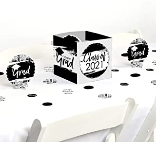 product image for Big Dot of Happiness Black and White Grad - Best is Yet to Come - Black and White 2021 Graduation Party Centerpiece and Table Decoration Kit