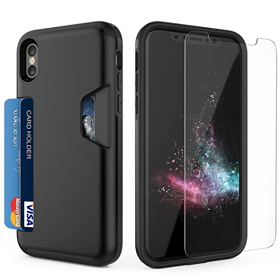 sports shoes aa474 378c7 Timocy iPhone X Case,iPhone 10 case with [Tempered Glass Screen Protector]  Slim Dual Layer Wallet Design and Card Slot Holder for iPhone X 2017 - ...