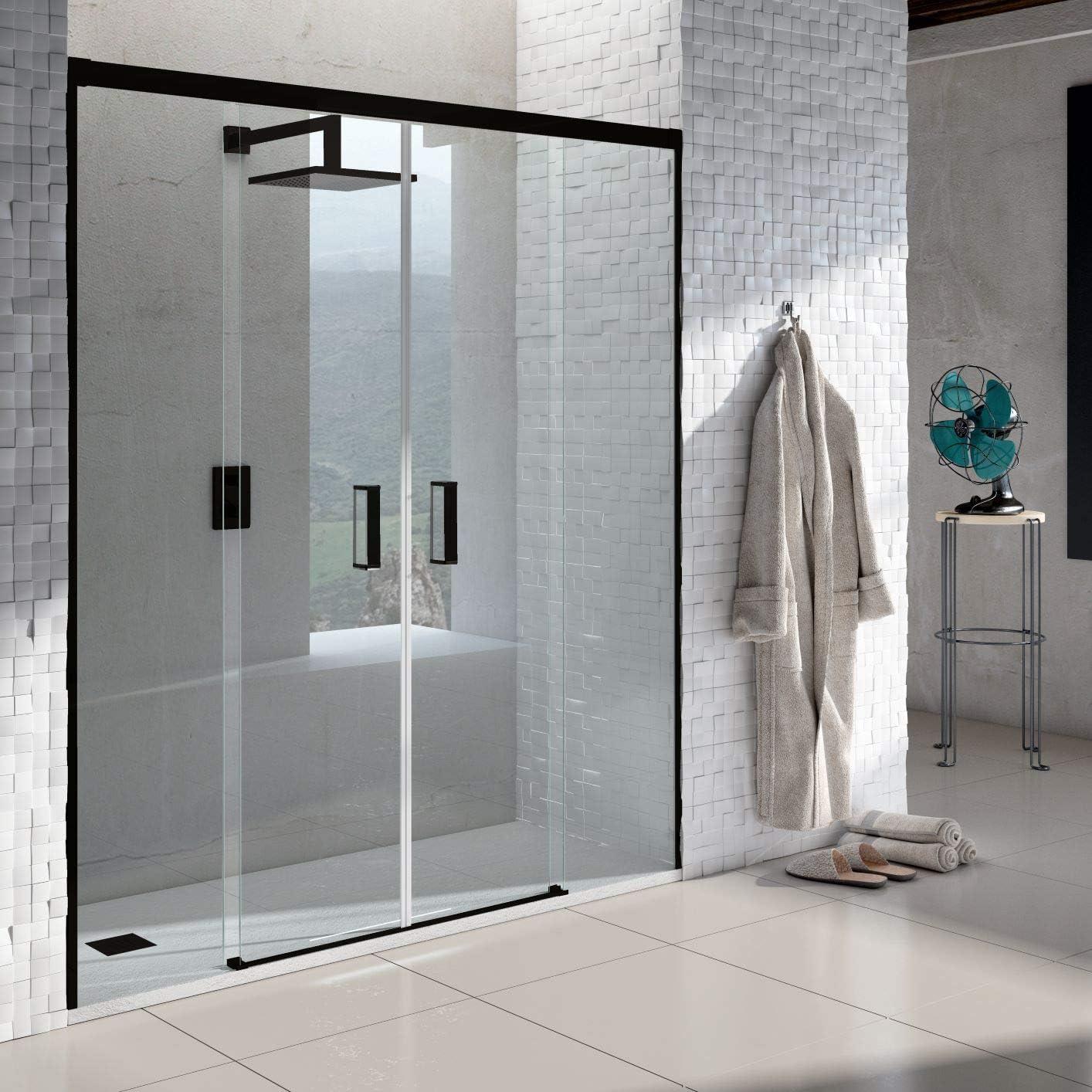 VAROBATH .Mampara de ducha con apertura frontal de puertas correderas, perfil NEGRO y cristal transparente con 6 mm de grosor. Disponible en varias medidas. Sin perfil inferior. (160 a 169): Amazon.es: Bricolaje