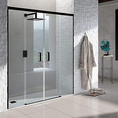 VAROBATH .Mampara de ducha con apertura frontal de puertas correderas, perfil NEGRO y cristal transparente con 6 mm de grosor. Disponible en varias medidas. Sin perfil inferior. (180 a 189): Amazon.es: Bricolaje