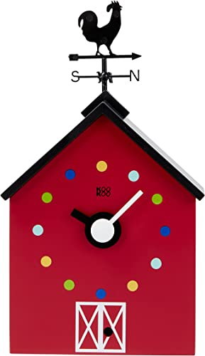 KOOKOO Red Barn Small, Farmhouse Clock with 12 Animal Sounds, a Rooster and a Rotating weathervane, with Light Sensor, Made of MDF Wood, for Children 6 Years